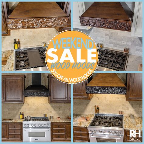 Weekend Wood Hood Sale!  This weekend only, take advantage of 50% off any Designer Wood range hood.   Visit today to find your next kitchen upgrade!