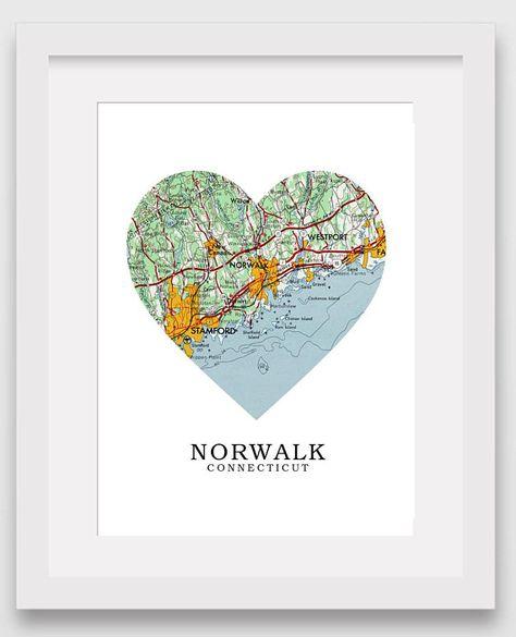 Norwalk Map Heart Print, Norwalk Map Art, Connecticut Map, Heart Map ...