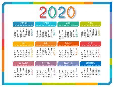 Calendario 2020 En Lengua Francesa Sobre Fondo Blanco Colorido Calendario Año 2020 Plantilla De Vector Simpl Coloring Calendar Spanish Language Calendar 2020