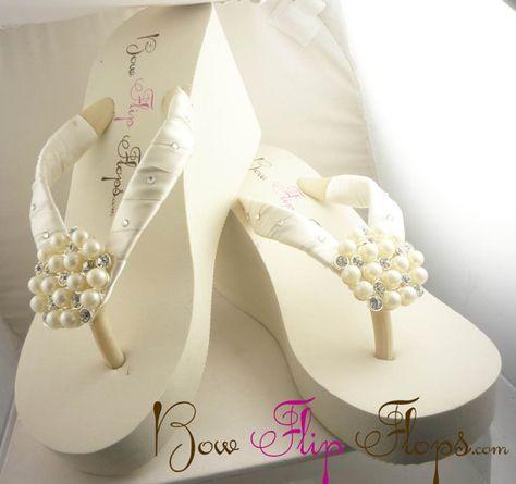 2662f1ed2 Flip Flops Bride Swarovski Ivory Bridal Wedge White Rhinestone Pearl ...