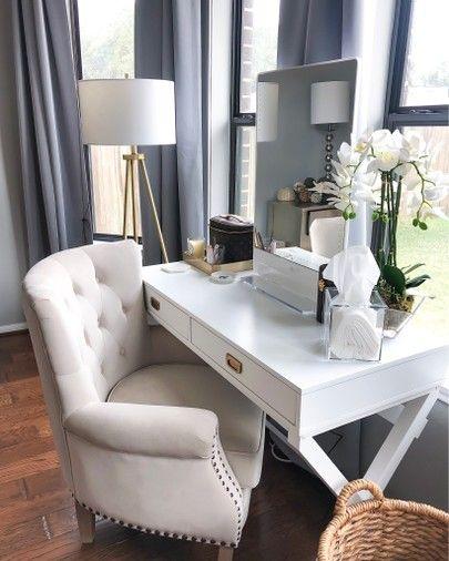 Vanity Area In Master Bedroom White Vanity Vanity Chair Floor Lamp Vanity Mirror Master Bedroom Va Bedroom Vanity Set Master Bedrooms Decor Bedroom Vanity