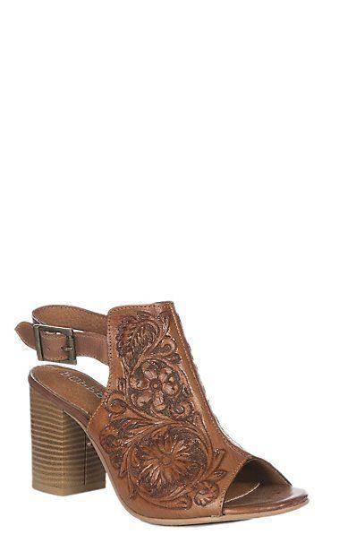 Tan Tooled Open Toe Fashion Heel