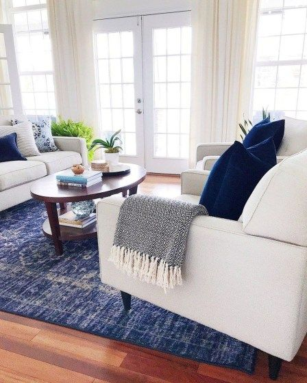Affordable Blue And White Home Decor Ideas Best For Spring Time 14 Homyhomee White Home Decor Blue And White Living Room Blue Living Room Inspiration