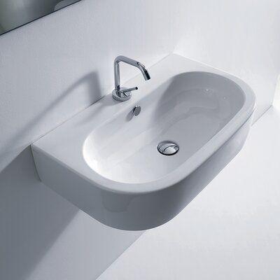 Ws Bath Collections Flo Ceramic Ceramic U Shaped Vessel Bathroom Sink With Overflow Wayfair In 2020 Ws Bath Collections Modern Bathroom Sink Wall Mounted Bathroom Sinks