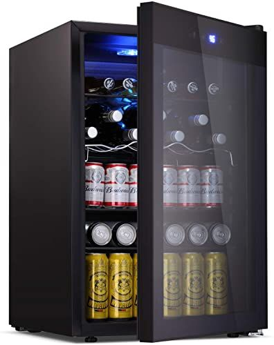 New Bossin Beverage Refrigerator Cooler 120 Can Capacity Smoky Gray Glass Door Soda Beer Wine Compressor Touch Panel Digital Temperature Display Home Off In 2020 Beverage Refrigerator Grey Glass Refrigerator Cooler