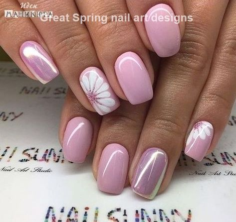 20 Spring Nail Art Ideas 1 Short Square Acrylic Nails