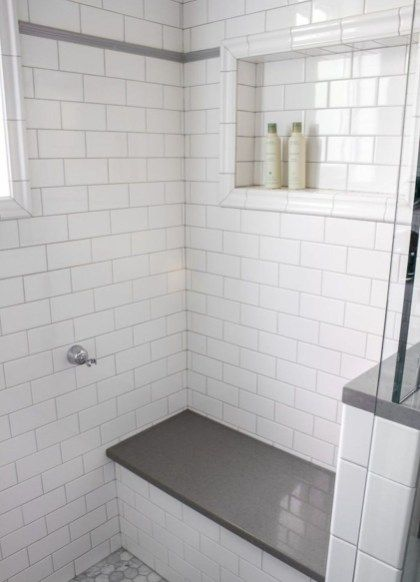 46 Beautiful Master Bathroom Remodel Design Ideas In 2020 With Images Tile Shower Niche White Tile Shower White Subway Tile Shower