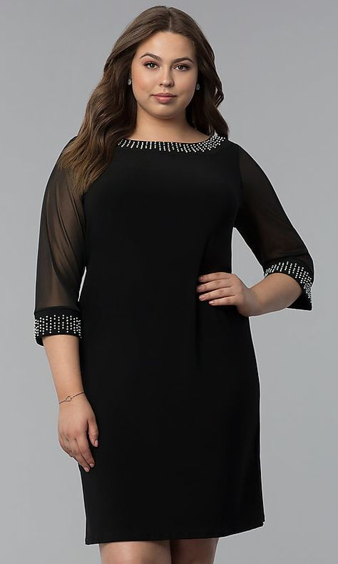ecedf8ea Image of short plus-size 3/4-sleeve cocktail party dress. Style:  JU-TI-T91579 Front Image