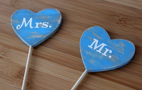 Distressed Heart Mr. & Mrs. Cake Toppers, Rustic/Wedding/Photo Prop/Shower/Cottage Chic/Country. $25.00, via Etsy.