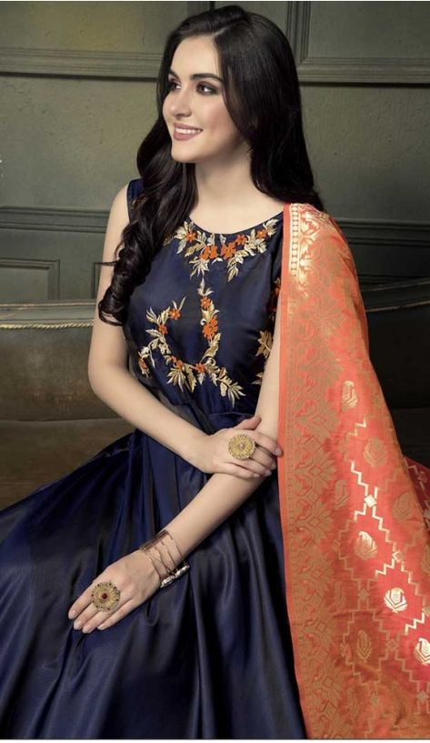 4e5a8463898 Navy Blue Color Heavy Tapeta Sarteen Silk Designer gown | 369844173 30% off  discount code : diwali2018 #fashion #gown #shopping #designer #heenastyle
