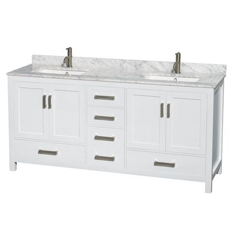 Wyndham Sheffield White Double Bath Vanity 72 Inch With Top
