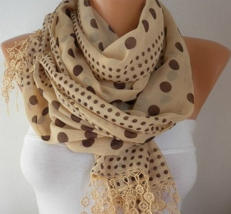 Milky Brown & Brown Polka Dot Cotton Scarf,Summer Scarf, Cowl Gift Ideas For Her  Women's Fashion Accessories Teacher Gift