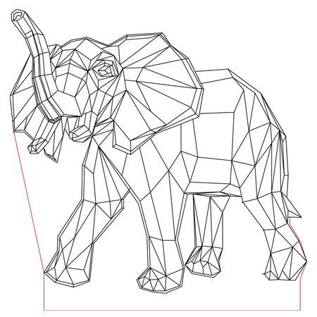 Elephant 3d Illusion Led Lamp Plan Vector File For Laser And Cnc 3bee Studio Geometric Drawing Geometric Art Animal Geometric Quilt