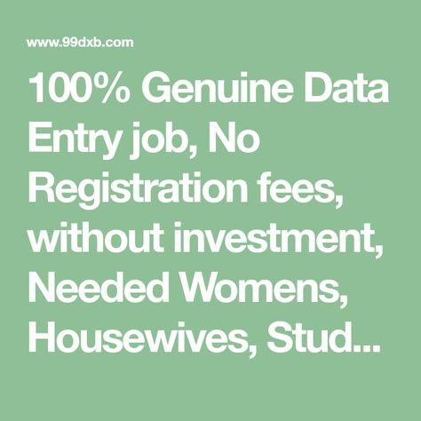 100 Genuine Data Entry Job No Registration Fees Without