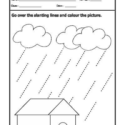 Slanting Lines Line Tracing Worksheets Free Kindergarten