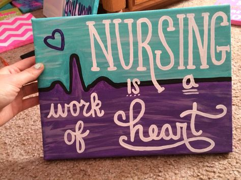 Nursing is a Work of Heart EKG Canvas in Purple and Teal @misslyss_17
