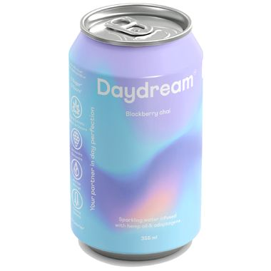 Daydream Blackberry Chai Sparkling Water Infused with Hemp Seed Oil Water Packaging, Candle Packaging, Beverage Packaging, Beauty Packaging, Water Branding, Food Packaging Design, Packaging Design Inspiration, Brand Packaging, Branding Design