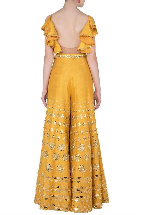 Mustard yellow embroidered cutout jumpsuit available only at Pernia's Pop Up Shop.