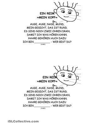 Mein Korper Ein Reim Gedichte Fur Kinder Begrussungslied Kindergarten Kinder Reime