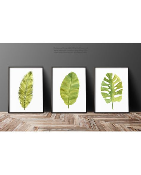 Palm Leaf Aquarelle Peinture Set 3 Feuille Tropical Green Art