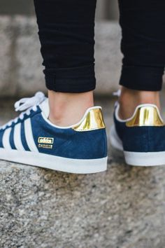 These Adidas Gazelles are so cute in blue and gold.  shopstyle  681f71ee1e5