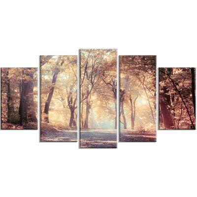 Design Art Golden Autumn Beautiful Forest 5 Piece Photographic Print On Wrapped Canvas Set Landscape Canvas Art Landscape Canvas Canvas Art Prints