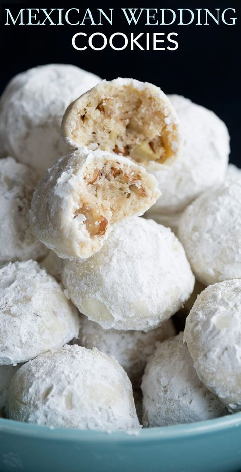 exican Wedding Cookies - These are one of the most dreamy cookies and they're so easy to make! Perfectly round, buttery, pecan dotted cookies are rolled in sweet blizzard of snowy white powdered…</br> Köstliche Desserts, Holiday Baking, Christmas Desserts, Christmas Baking, Delicious Desserts, Dessert Recipes, Fudge Recipes, Christmas Candy, Christmas Wedding