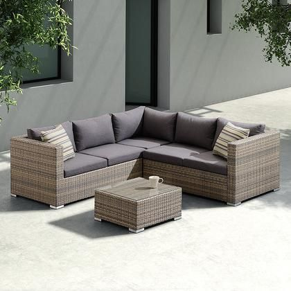 Sofa Sets Brown Cushions, For Living 3 Piece Wicker Patio Sectional Set With Cushions