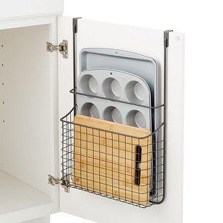 Over The Cabinet Grid Bakeware Holder Kitchen Storage Space Kitchen Organization Diy Diy Kitchen Storage