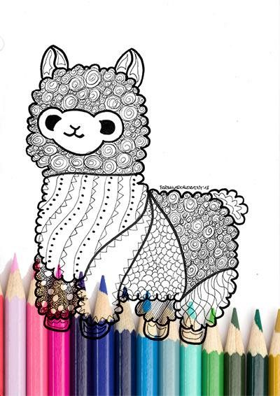 Lama Coloring Page Printable Zentangle Animal Coloring Page