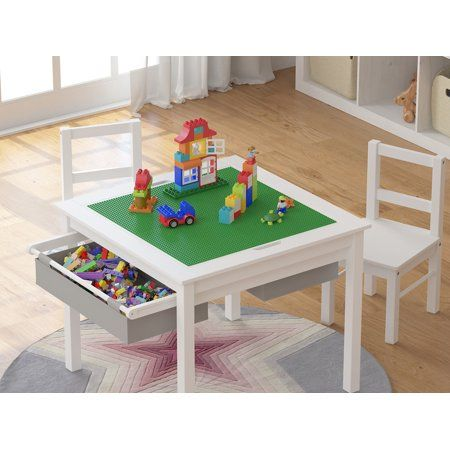Utex Wooden 2 In 1 Kids Construction, Lego Table With Chairs And Storage