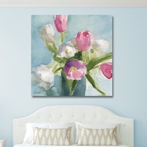 Shabby Chic Floral Painting Canvas Wall Art Over The Bed In A Duck Egg Blue Bedroom In Shades Of Pink W Shabby Chic Painting Blue Shabby Chic Shabby Chic Room