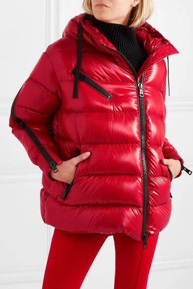 316a1f038 Moncler Liriope Hooded Quilted Glossed-shell Down Jacket - Red ...