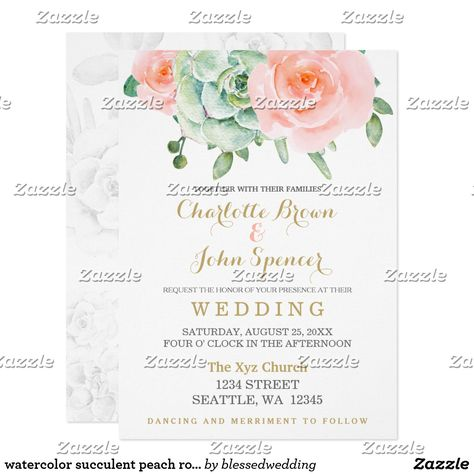 watercolor succulent peach roses wedding card watercolor celadon succulent and peach roses with gold accent wedding invitations. Matching products also available.