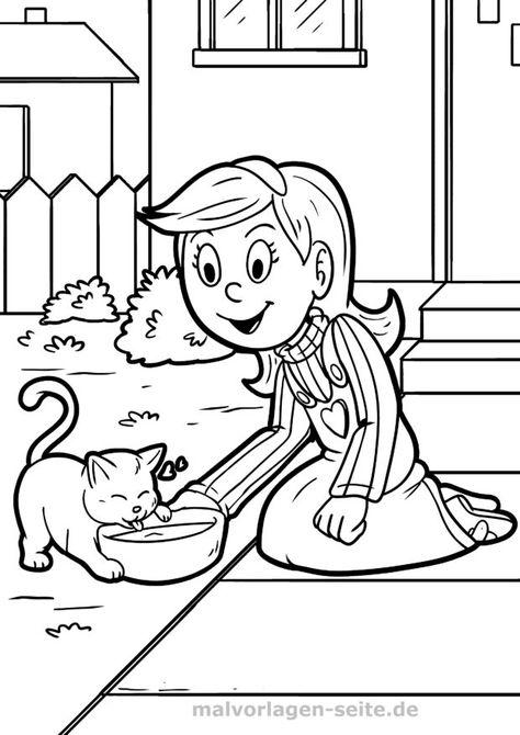 ausmalbilder katzen für kinder kostenlos drucken und