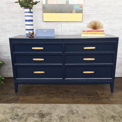 Navy Painted Mcm Dresser With Gold Hardware Grey Painted Furniture Refurbished Furniture Blue Painted Furniture