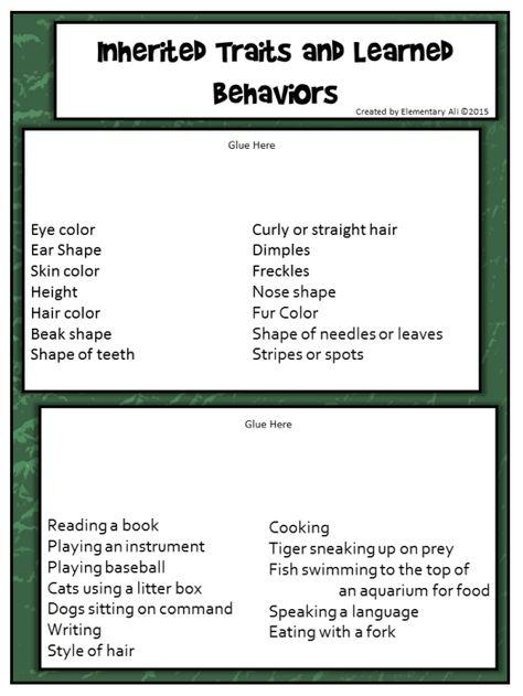 Week Twenty Seven Science Lessons Inherited Traits And Learned Behaviors Learned Behaviors Inherited Traits Science Lessons Inherited traits worksheet 5th grade