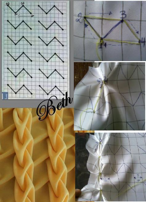 Trendy Origami Fashion Fabric Manipulation Smocking Tutorial Ideas Trendy Origami F Smocking Tutorial, Smocking Patterns, Embroidery Patterns, Sewing Patterns, Skirt Patterns, Easy Fabric Flowers, Fabric Flower Tutorial, Origami Fashion, Fabric Crafts