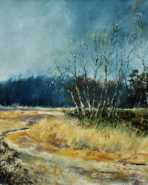 Original Landscape Painting by Pol Ledent   Impressionism Art on Canvas   A few aspen trees in winter