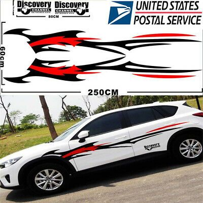 Pair DIY Fashion Car Door Both Side Panel Stripes Streamline Vinyl Decal Sticker