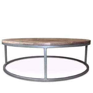 Reclaimed Wood And Metal Coffee Table Two Tier Round Wood Coffee