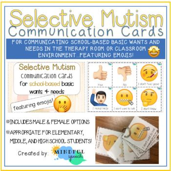 Selective Mutism Communication Cards For School Based Basic Wants