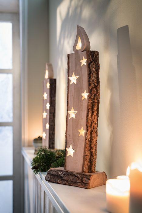 Weihnachtsdeko Led Kerzen.Weihnachtsdeko Aus Holz Mit Led Beleuchtung Erwinmüller