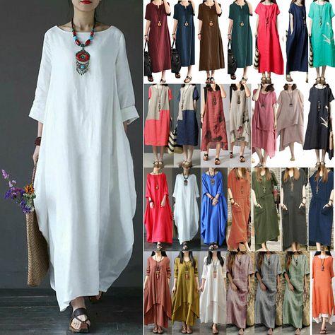 Damen Lose Batwing Kleid Maxikleid Vintage Baumwolle Split Shirtkleid Kleider