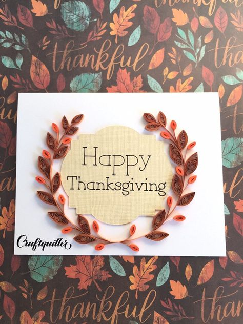 Excited to share this item from my #etsy shop: 253-Quilled 3d orange-brown leaf wreath, Happy Thanksgiving card, happy fall, rolled paper card, for mom, grandma, friend, husband #3dflowercard #fallcolors #greetingcard #bestfriendcard #happythanksgiving #thankyoucard