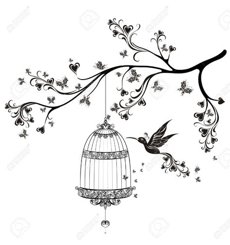 Birds Out Of Cages. Spring Birds Flying On The Branch. Vector.. Royalty Free Cliparts, Vectors, And Stock Illustration. Image 30170994.