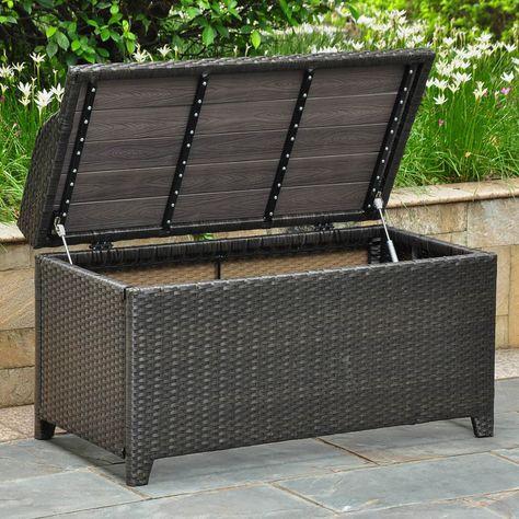 Peachy Barcelona Resin Wicker Aluminum Outdoor Storage Bench Home Dailytribune Chair Design For Home Dailytribuneorg