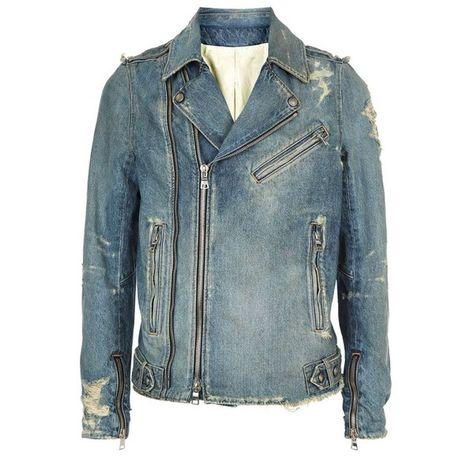 2864fd4a Balmain Distressed Denim Biker Jacket ($1,720) ❤ liked on Polyvore  featuring men's fashion, men's clothing, men's outerwear, men's jackets, mens  distressed ...