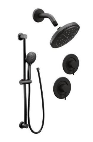 Align Matte Black Handheld Rainhead On Wall Shower Heads