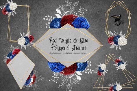 Red White and Blue Polygonal Frames Clipart (274329)   Illustrations   Design Bundles